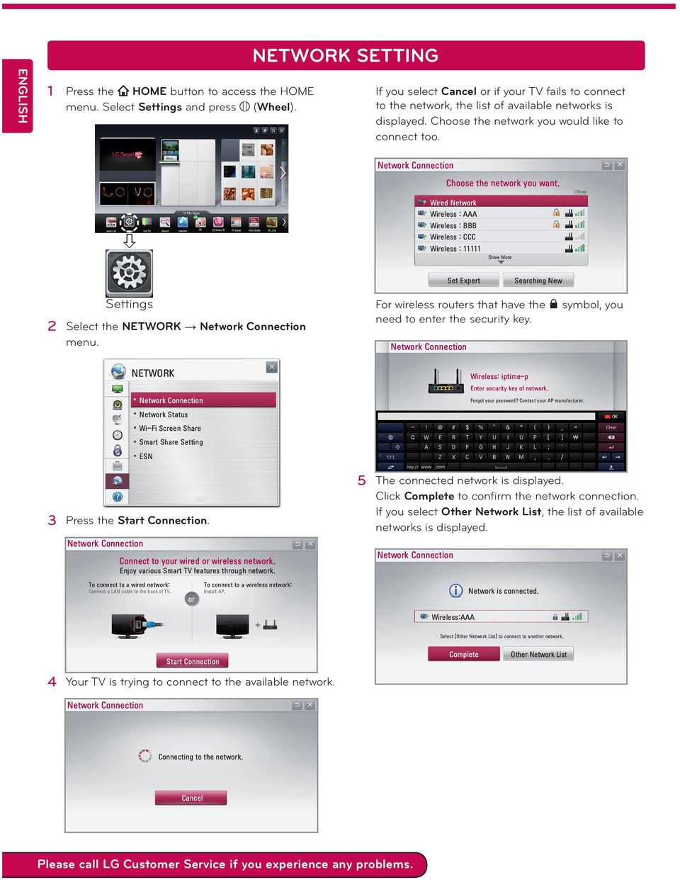 Wired Network Wireless : AAA Input List Settings Live TV Search Internet 3D LG Smart W TV Guide User Guide Ch.