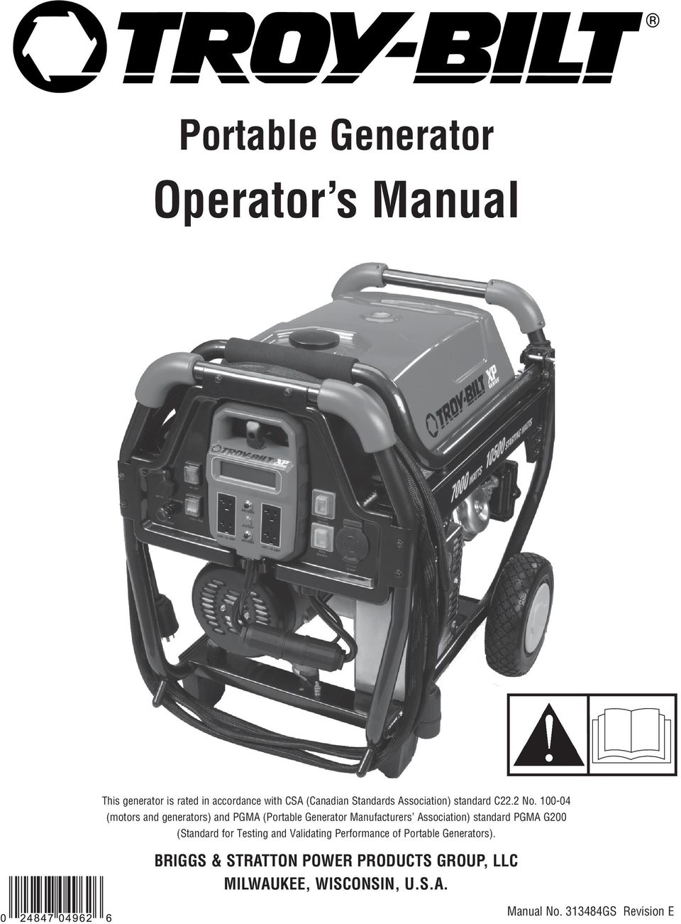100-04 (motors and generators) and PGMA (Portable Generator Manufacturers Association) standard PGMA