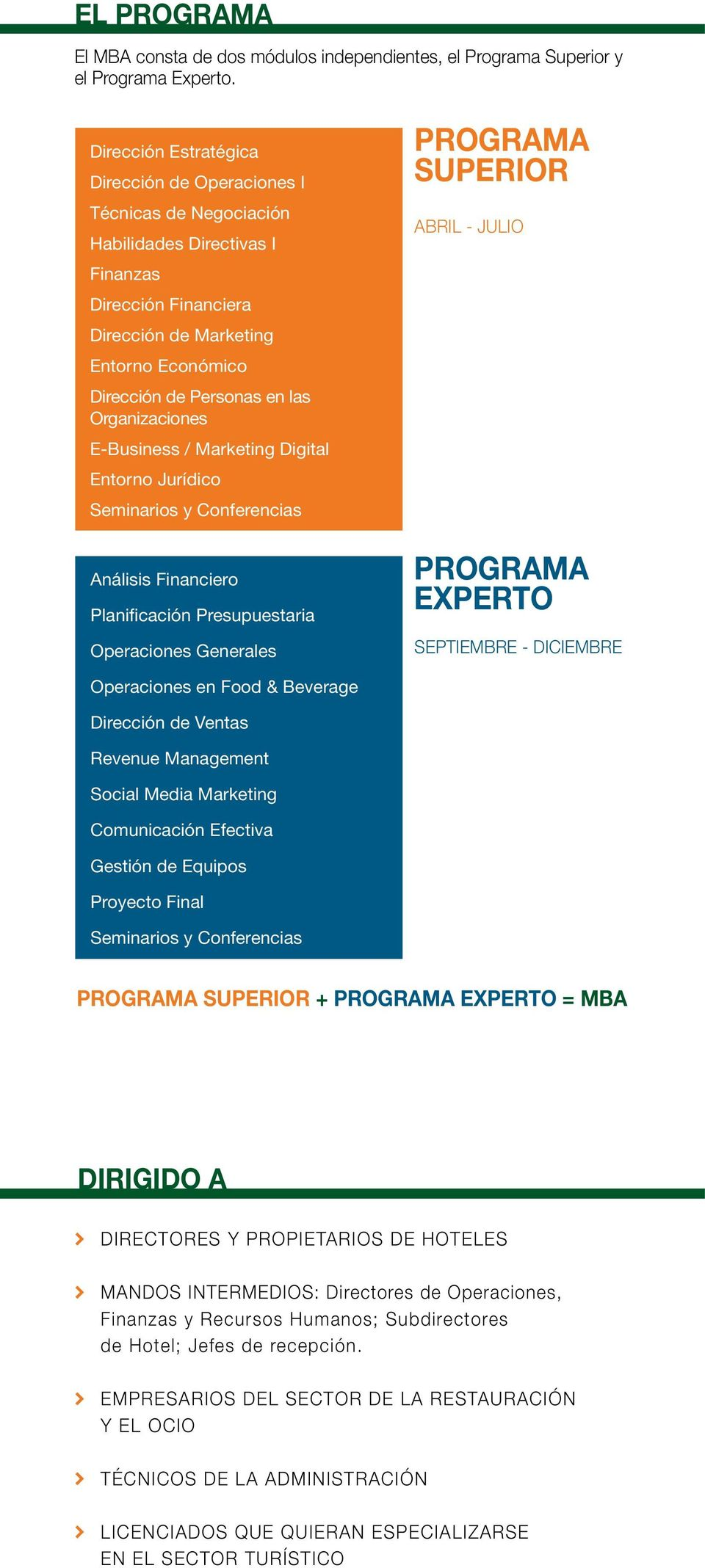 Organizaciones E-Business / Marketing Digital Entorno Jurídico Seminarios y Conferencias Análisis Financiero Planificación Presupuestaria Operaciones Generales PROGRAMA SUPERIOR ABRIL - JULIO