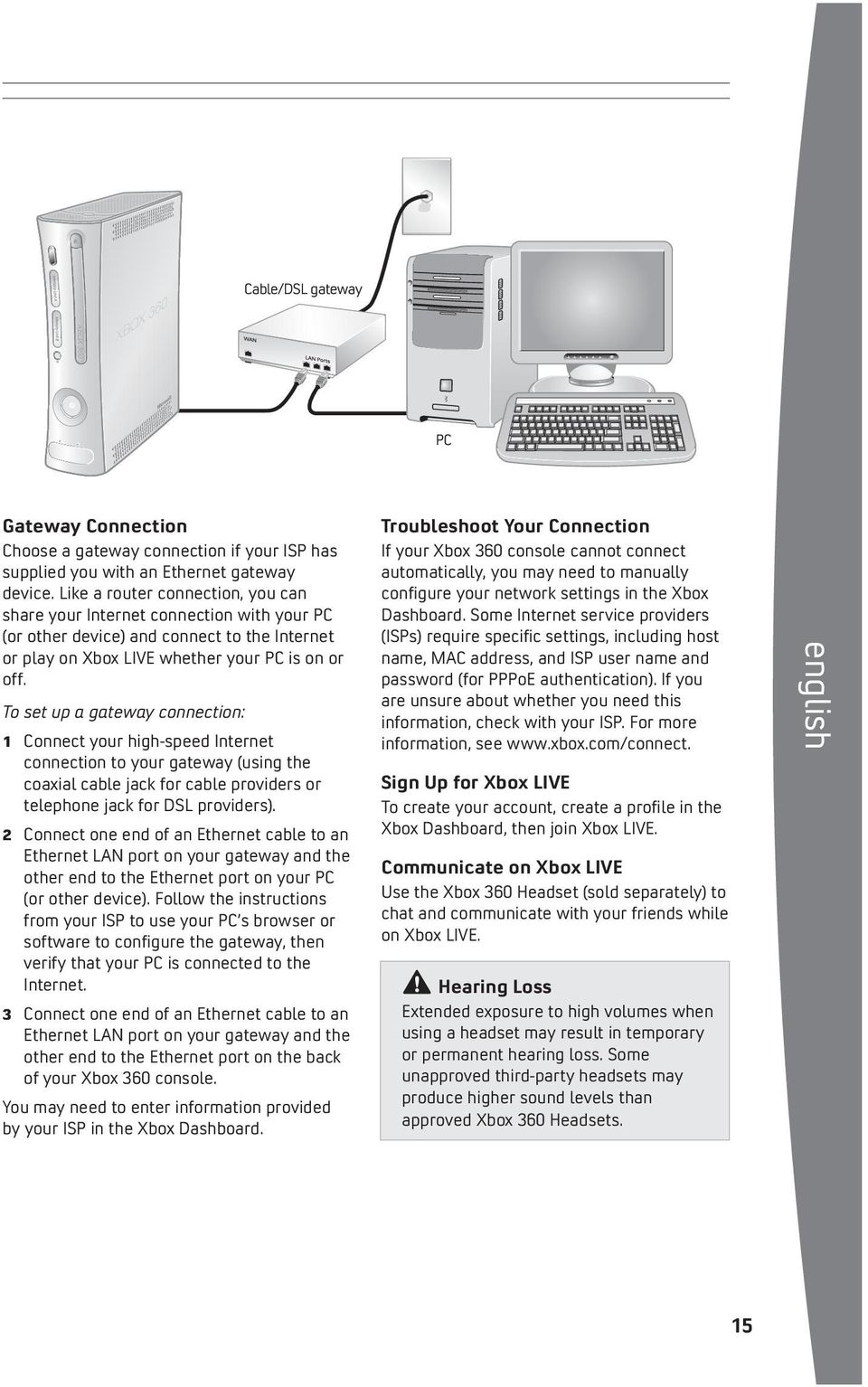 To set up a gateway connection: 1 Connect your high-speed Internet connection to your gateway (using the coaxial cable jack for cable providers or telephone jack for DSL providers).