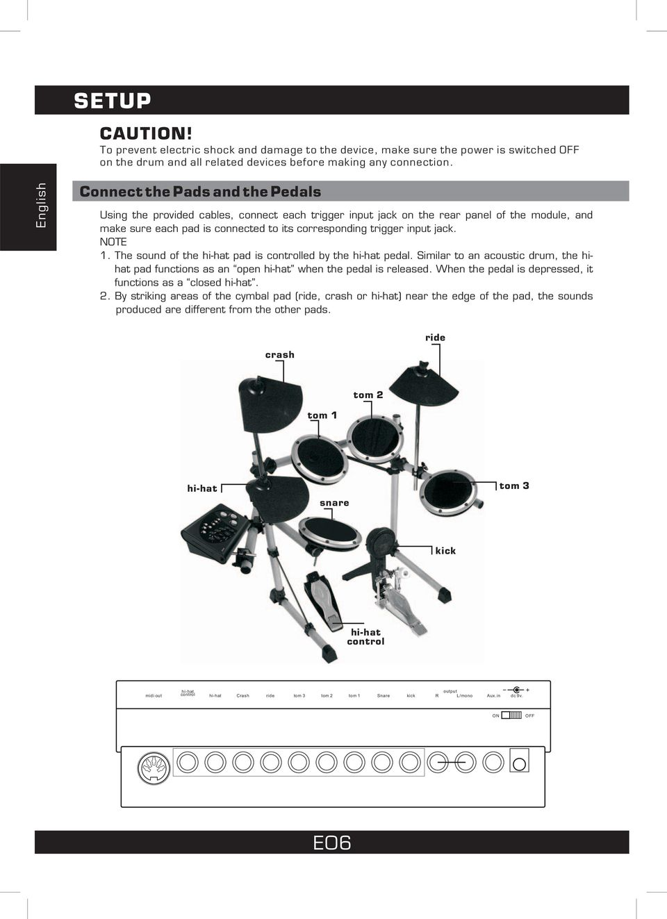 input jack. NOTE 1. The sound of the hi-hat pad is controlled by the hi-hat pedal. Similar to an acoustic drum, the hihat pad functions as an open hi-hat when the pedal is released.