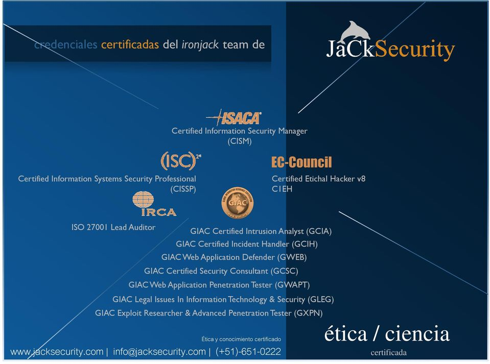 Web Application Defender (GWEB) GIAC Certified Security Consultant (GCSC) GIAC Web Application Penetration Tester (GWAPT) GIAC Legal Issues In