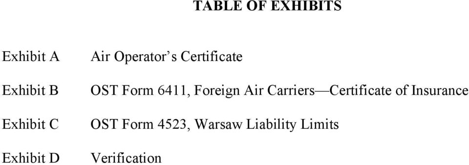 6411, Foreign Air Carriers Certificate of
