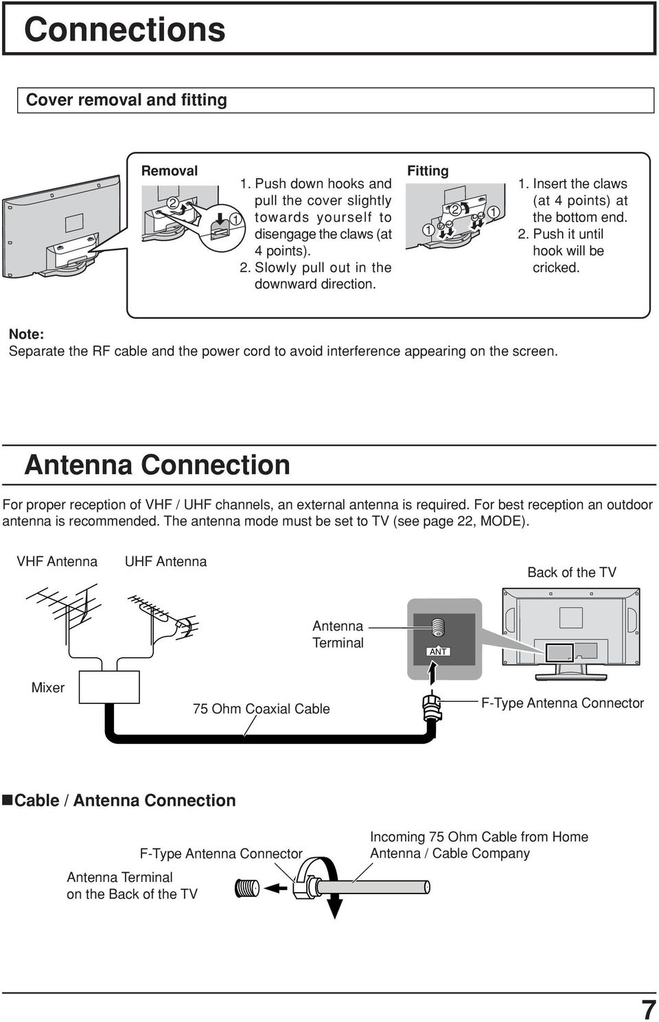 Antenna Connection For proper reception of VHF / UHF channels, an external antenna is required. For best reception an outdoor antenna is recommended.