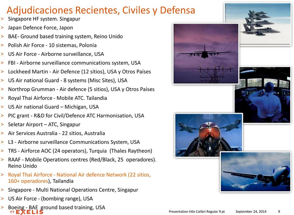 surveillance communications system, USA > Lockheed Martin - Air Defence (12 sitios), USA y Otros Países > US Air national Guard - 8 systems (Misc Sites), USA > Northrop Grumman - Air defence (5