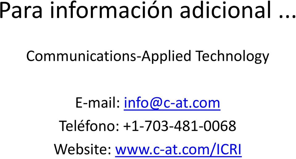 Technology E mail: info@c at.