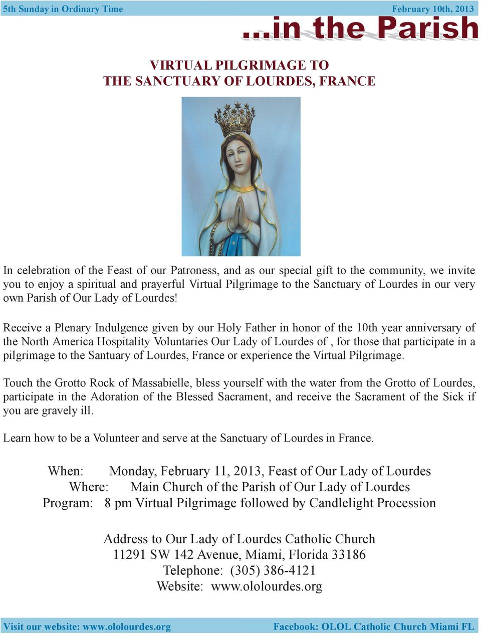 Receive a Plenary Indulgence given by our Holy Father in honor of the 10th year anniversary of the North America Hospitality Voluntaries Our Lady of Lourdes of, for those that participate in a