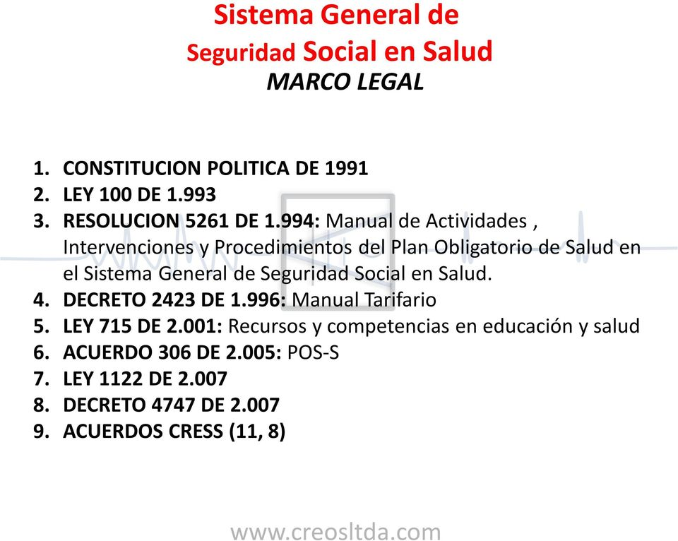 General de. 4. DECRETO 2423 DE 1.996: Manual Tarifario 5. LEY 715 DE 2.