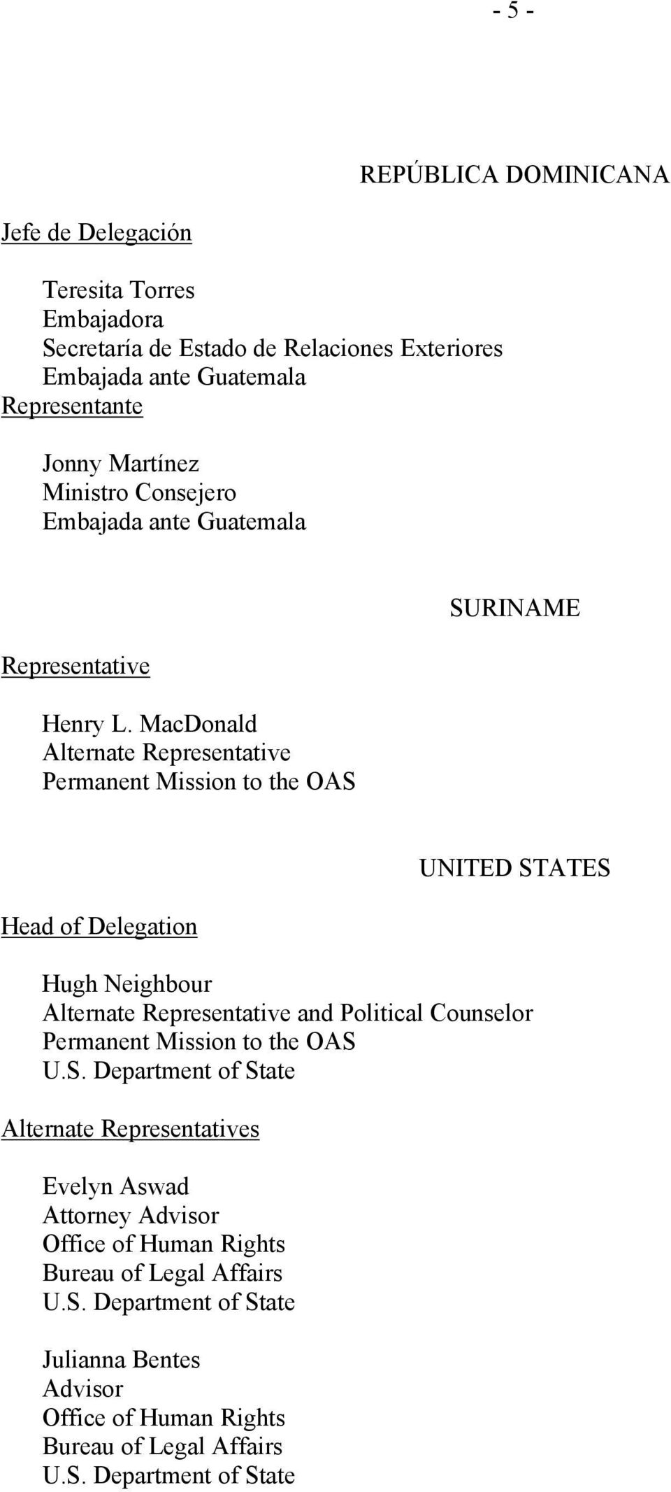 MacDonald Alternate Representative Permanent Mission to the OAS SURINAME Head of Delegation UNITED STATES Hugh Neighbour Alternate Representative and Political Counselor