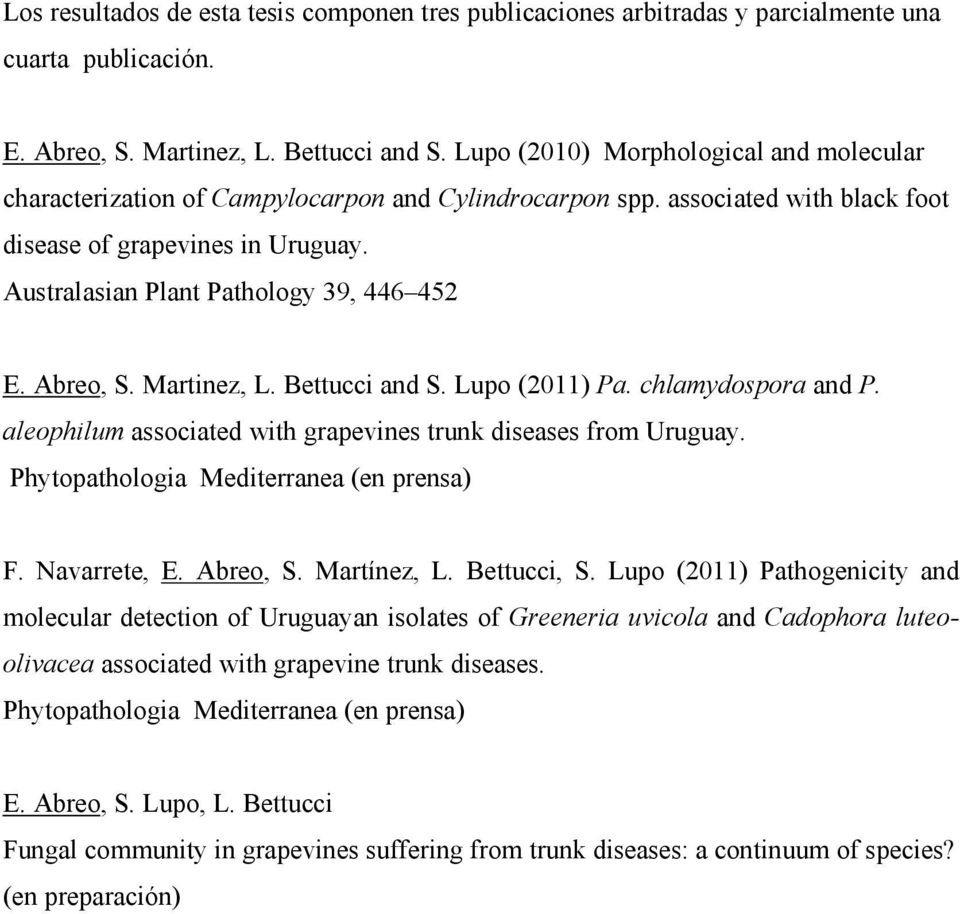 Australasian Plant Pathology 39, 446 452 E. Abreo, S. Martinez, L. Bettucci and S. Lupo (2011) Pa. chlamydospora and P. aleophilum associated with grapevines trunk diseases from Uruguay.