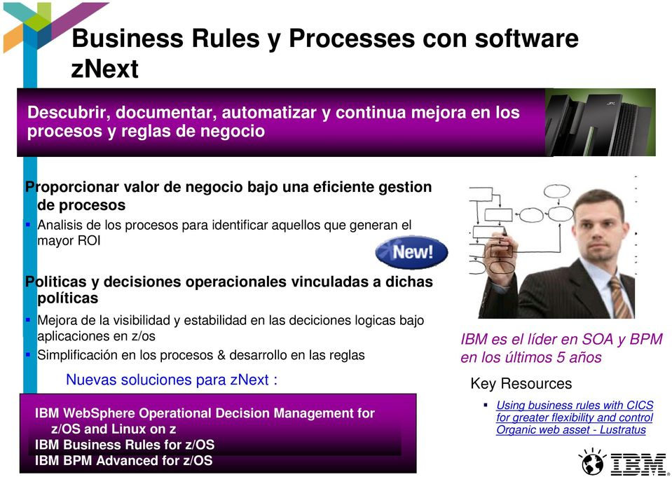 estabilidad en las deciciones logicas bajo aplicaciones en z/os Simplificación en los procesos & desarrollo en las reglas IBM WebSphere Operational Decision Management for z/os and Linux on z