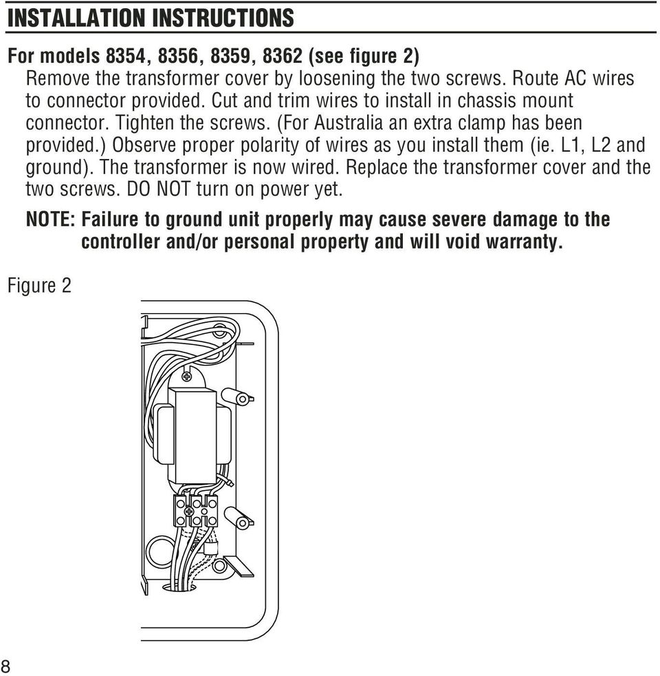 (For Australia an extra clamp has been provided.) Observe proper polarity of wires as you install them (ie. L1, L2 and ground).