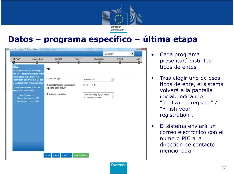 "inicial, indicando ""finalizar el registro"" / ""Finish your registration""."