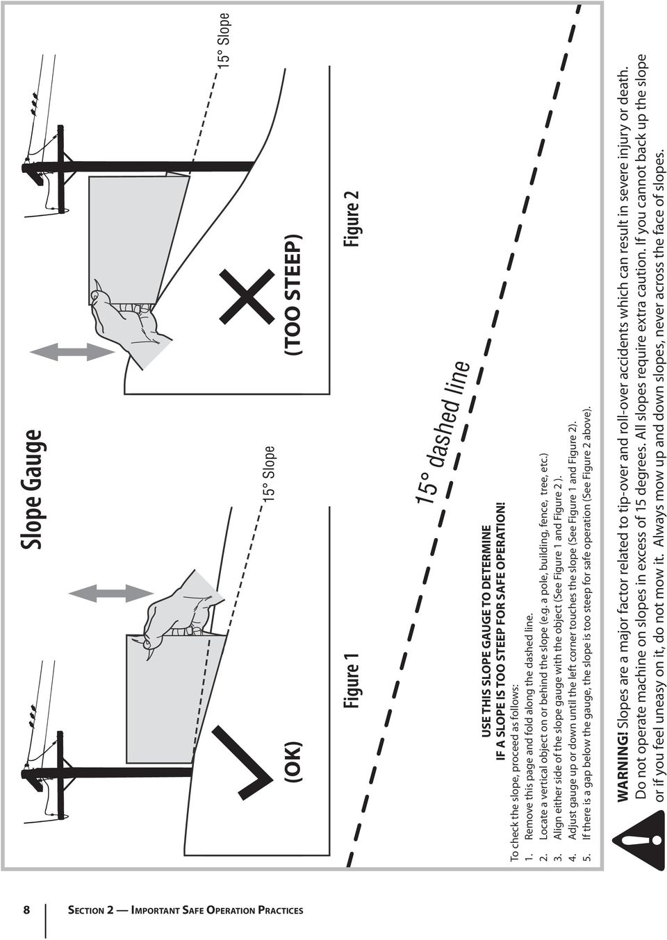 Align either side of the slope gauge with the object (See Figure 1 and Figure 2 ). 4. Adjust gauge up or down until the left corner touches the slope (See Figure 1 and Figure 2). 5.