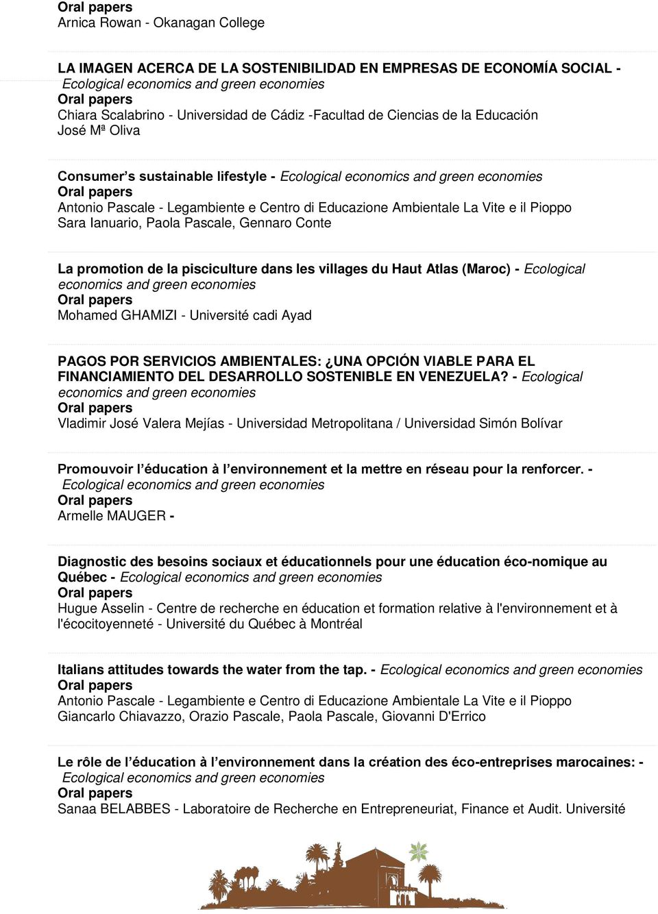 il Pioppo Sara Ianuario, Paola Pascale, Gennaro Conte La promotion de la pisciculture dans les villages du Haut Atlas (Maroc) - Ecological economics and Oral papers Mohamed GHAMIZI - Université cadi