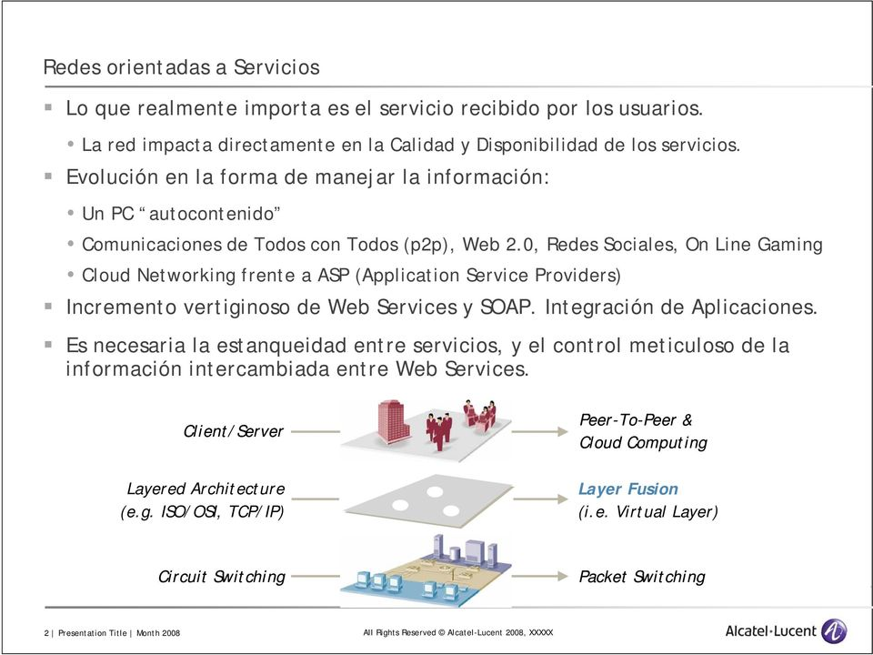 0, Redes Sociales, On Line Gaming Cloud Networking frente a ASP (Application Service Providers) Incremento vertiginoso de Web Services y SOAP. Integración de Aplicaciones.