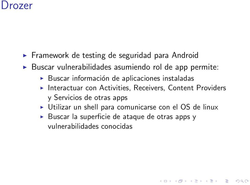 Activities, Receivers, Content Providers y Servicios de otras apps Utilizar un shell para