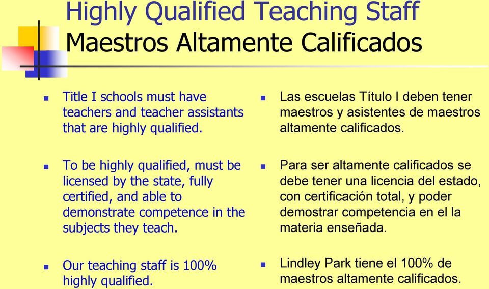 To be highly qualified, must be licensed by the state, fully certified, and able to demonstrate competence in the subjects they teach.