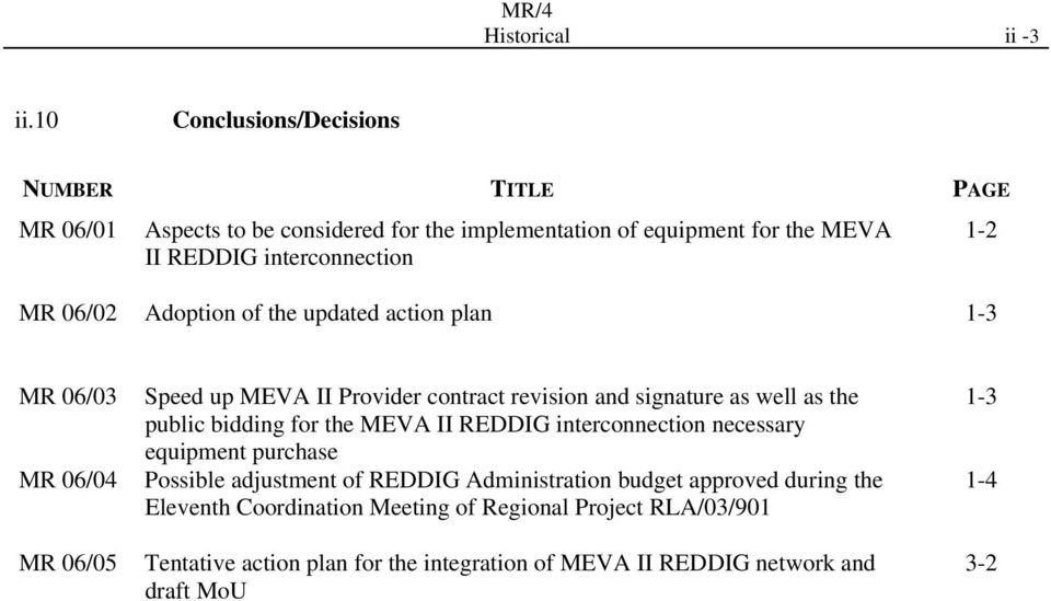 06/02 Adoption of the updated action plan 1-3 MR 06/03 MR 06/04 MR 06/05 Speed up MEVA II Provider contract revision and signature as well as the public