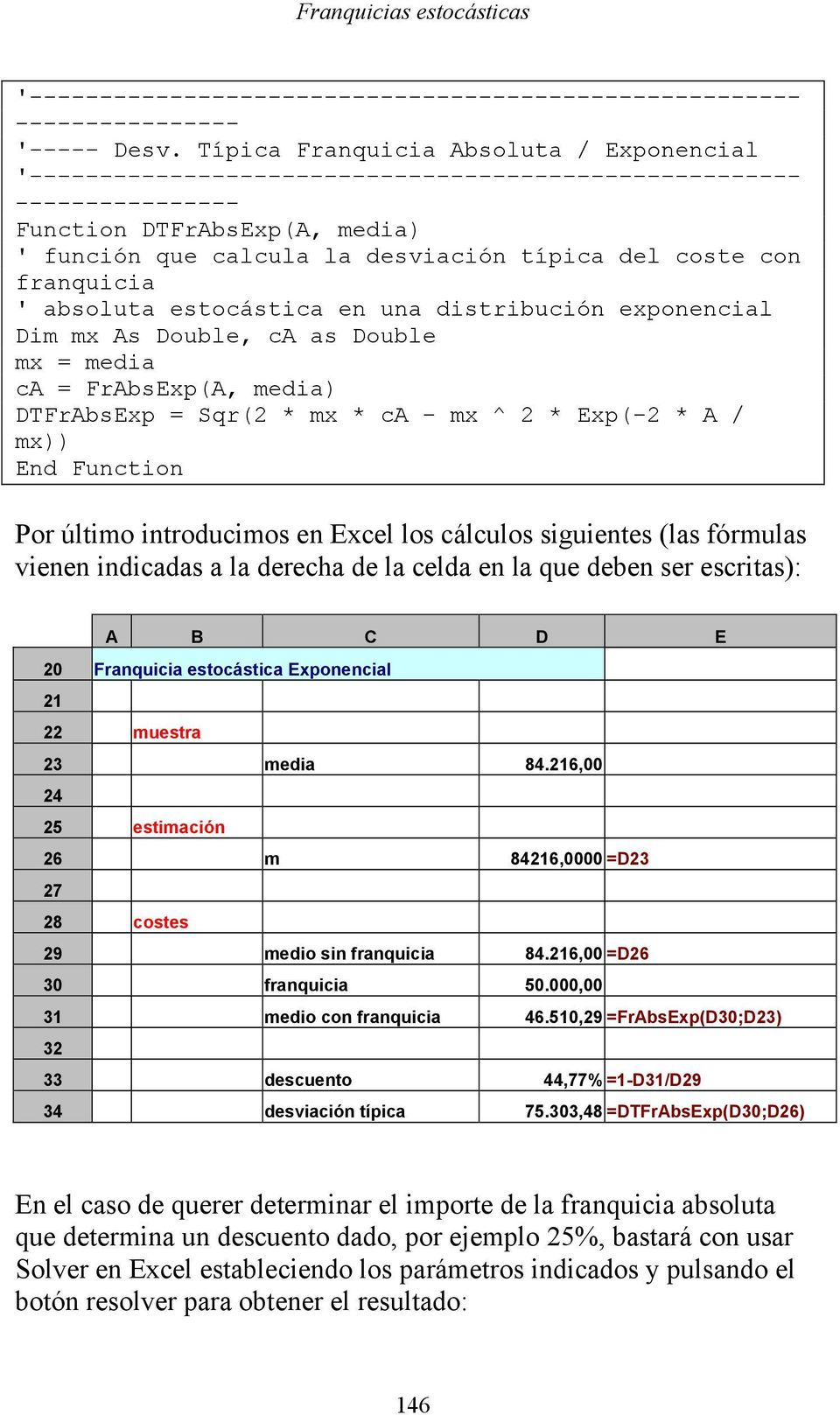 absoluta estoástia en una distribuión exponenial Dim mx s Double, as Double mx = media = FrbsExp(, media) DTFrbsExp = Sqr( * mx * - mx ^ * Exp(- * / mx)) End Funtion Por último introduimos en Exel