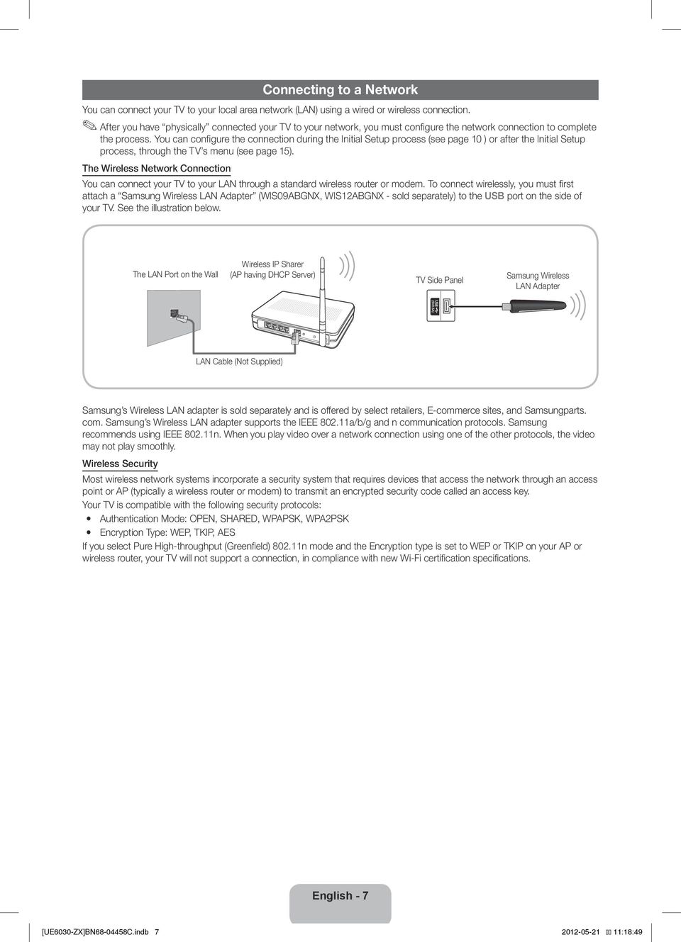 You can configure the connection during the Initial Setup process (see page 10 ) or after the Initial Setup process, through the TV s menu (see page 15).