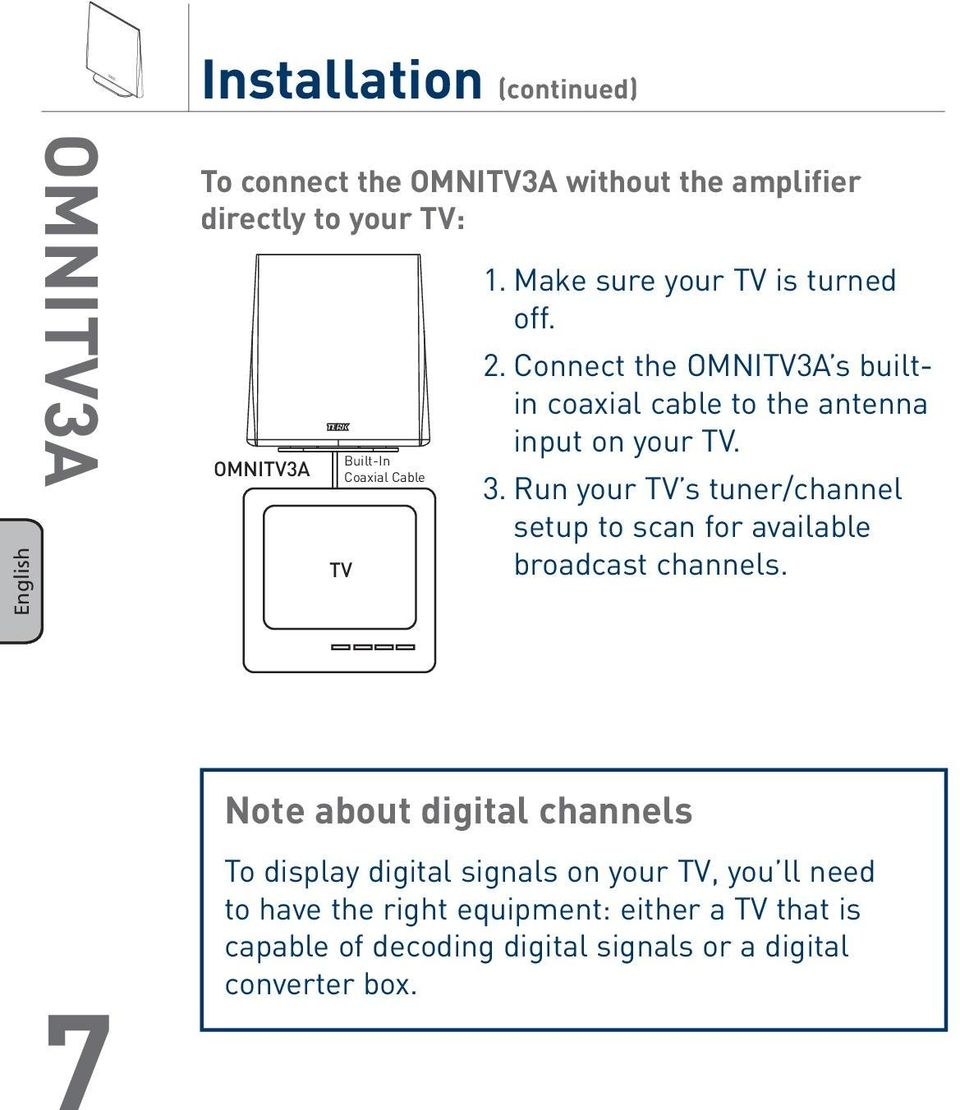 Run your TV s tuner/channel setup to scan for available broadcast channels.