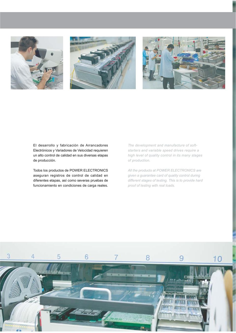 carga reales. The development and manufacture of softstarters and variable speed drives require a high level of quality control in its many stages of production.