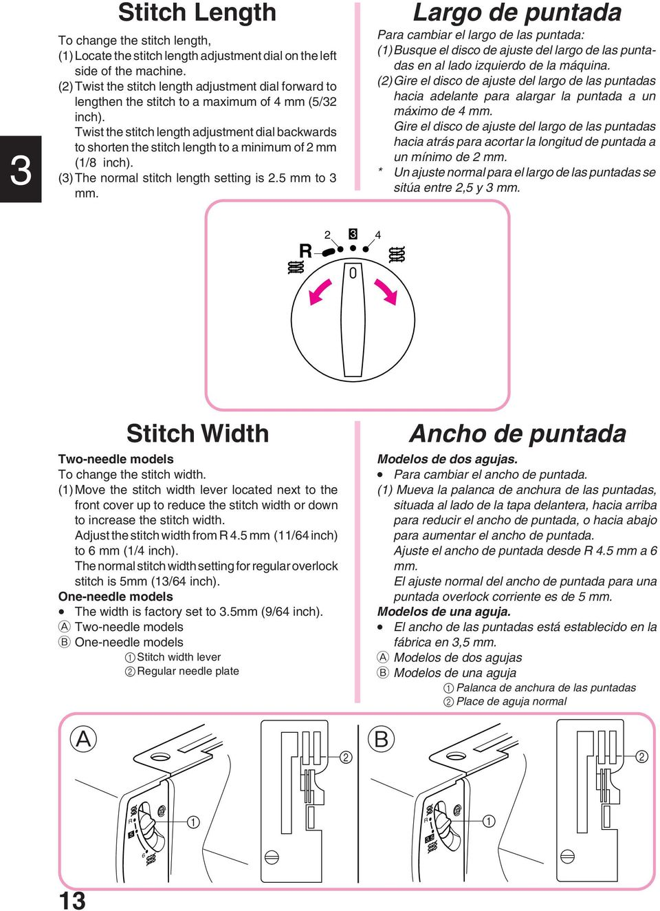 Twist the stitch length adjustment dial backwards to shorten the stitch length to a minimum of mm (1/8 inch). ()The normal stitch length setting is. mm to mm.