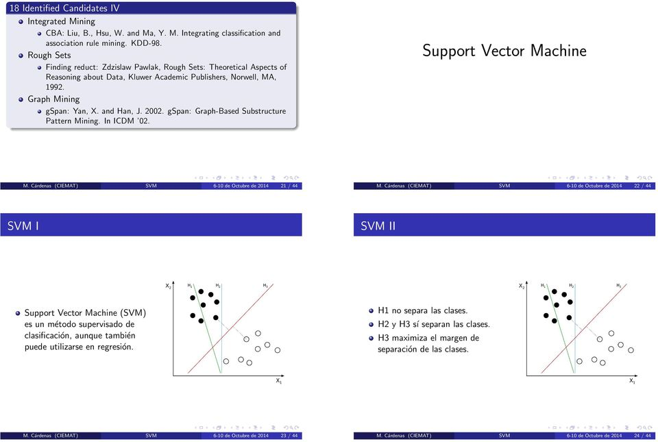 gspan: Graph-Based Substructure Pattern Mining. In ICDM 02. Support Vector Machine M. Cárdenas (CIEMAT) SVM 6-10 de Octubre de 2014 21 / 44 M.