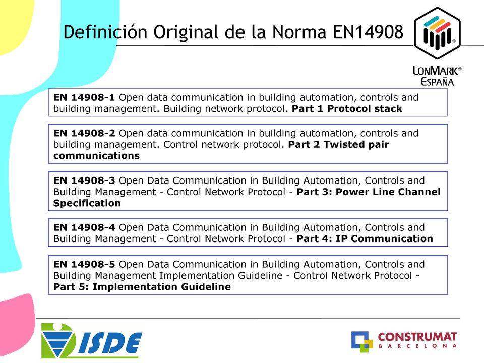 Part 2 Twisted pair communications EN 14908-3 Open Data Communication in Building Automation, Controls and Building Management - Control Network Protocol - Part 3: Power Line Channel Specification EN