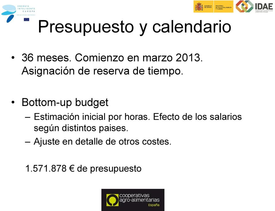 Bottom-up budget Estimación inicial por horas.