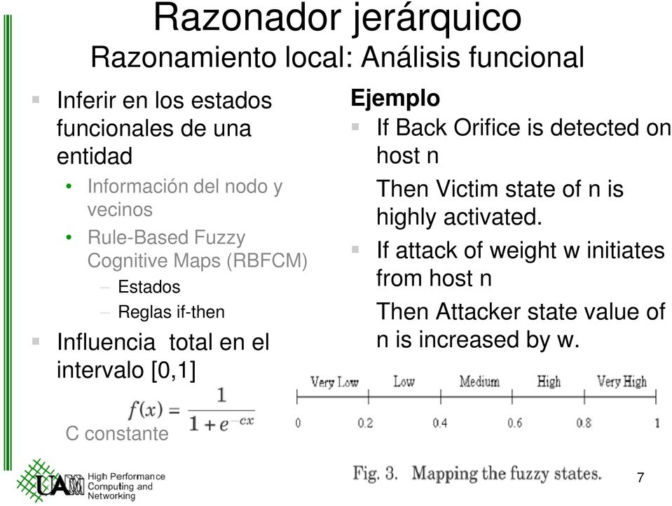 total en el intervalo [0,1] Ejemplo If Back Orifice is detected on host n Then Victim state of n is highly