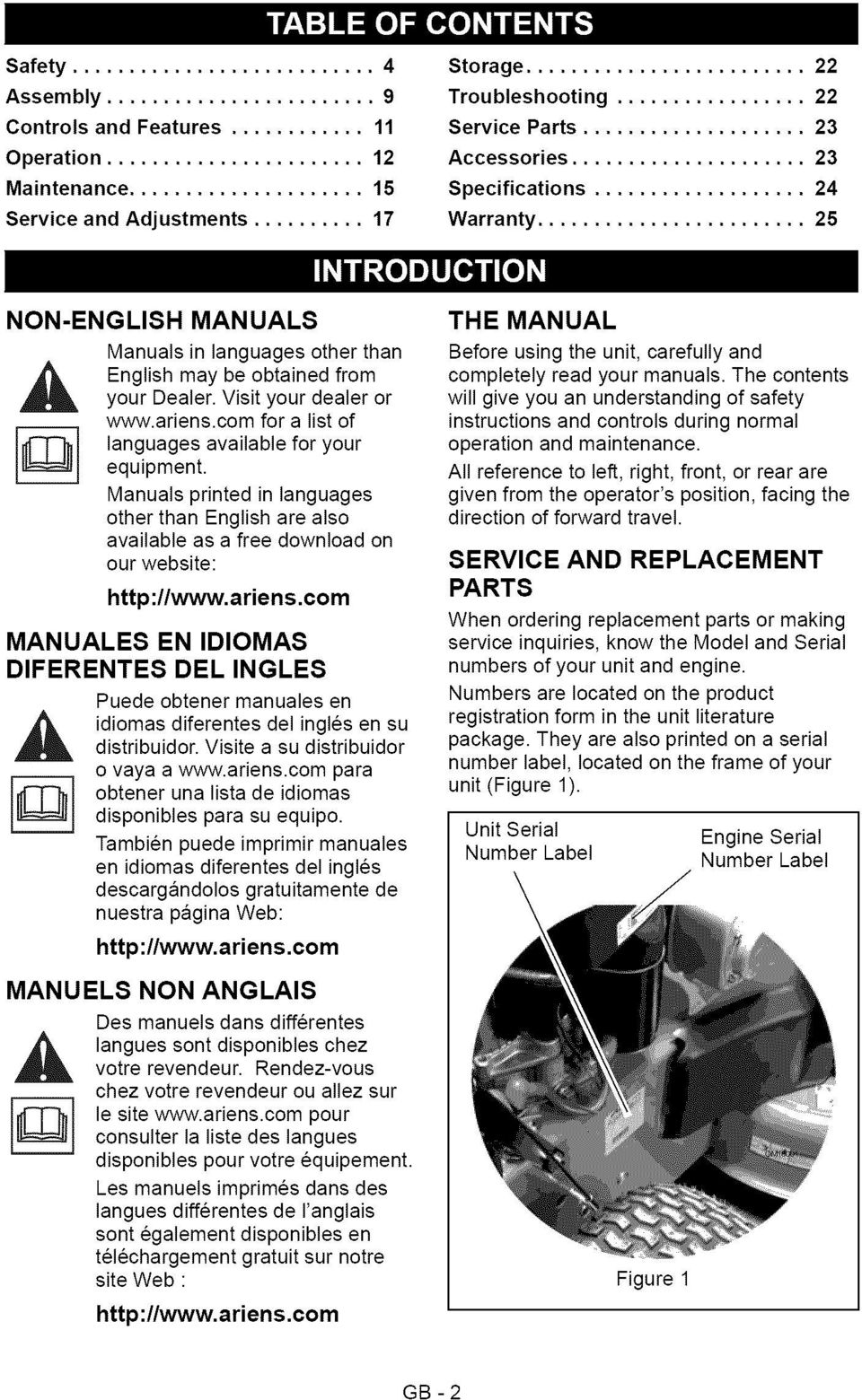 ariens.com for a list of languages available for your equipment. Manuals printed in languages other than English are also available as a free download on our website: http://www.ariens.com MANUALES EN IDIOMAS DIFERENTES DEL INGLES Puede obtener manuales en,_ idiomas distribuidor.