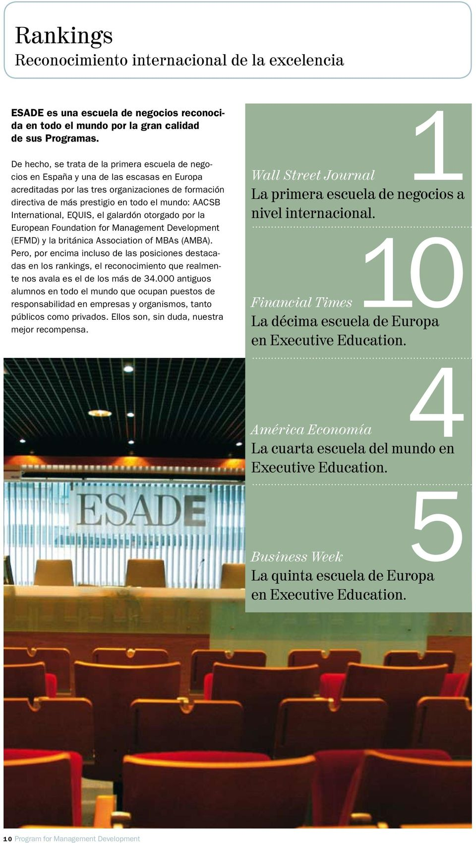 International, EQUIS, el galardón otorgado por la European Foundation for Management Development (EFMD) y la británica Association of MBAs (AMBA).