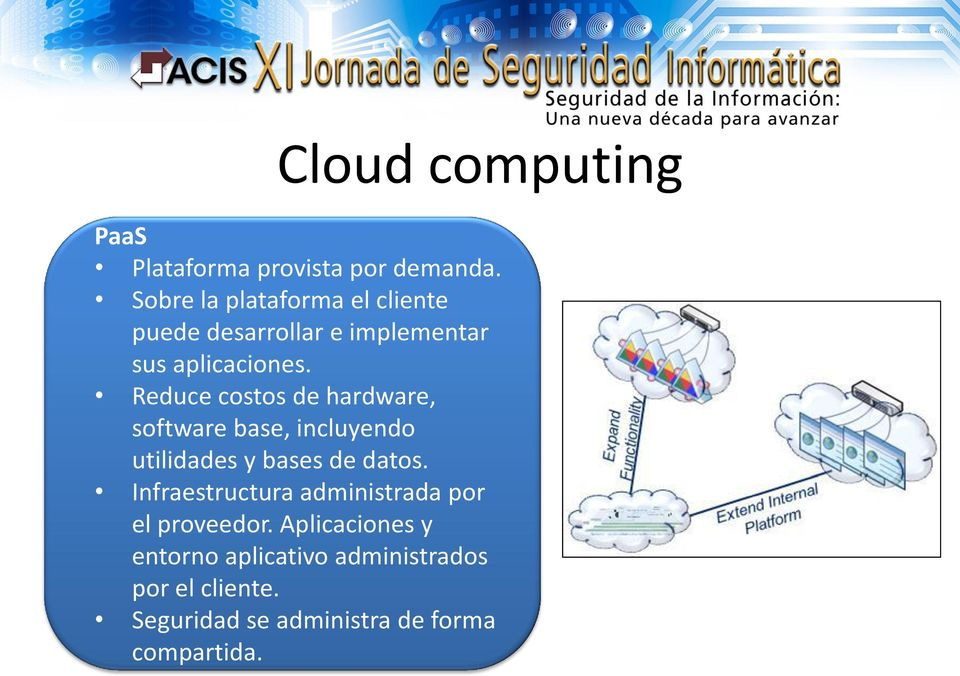 Reduce costos de hardware, software base, incluyendo utilidades y bases de datos.