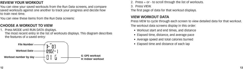 This diagram describes the features of a saved entry: File Number 2. Press + or - to scroll through the list of workouts. 3. Press VIEW. The first page of data for that workout displays.