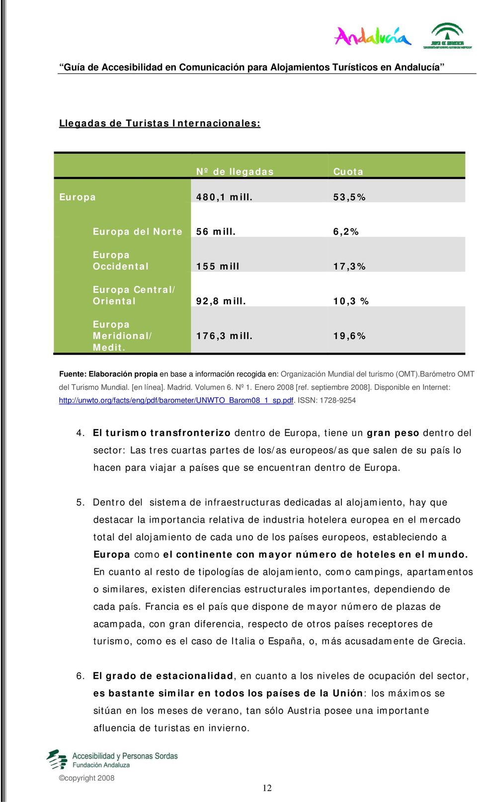 Madrid. Volumen 6. Nº 1. Enero 2008 [ref. septiembre 2008]. Disponible en Internet: http://unwto.org/facts/eng/pdf/barometer/unwto_barom08_1_sp.pdf. ISSN: 1728-9254 4.