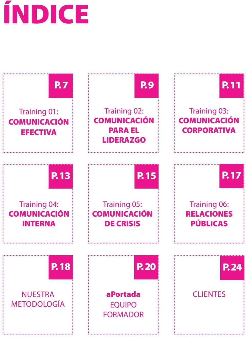 Training 03: COMUNICACIÓN CORPORATIVA P. 13 P. 15 P.