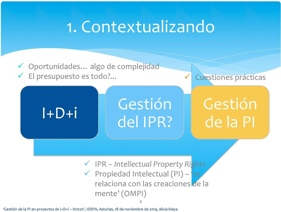 Gestión de la PI ü IPR Intellectual Property Rights ü Propiedad