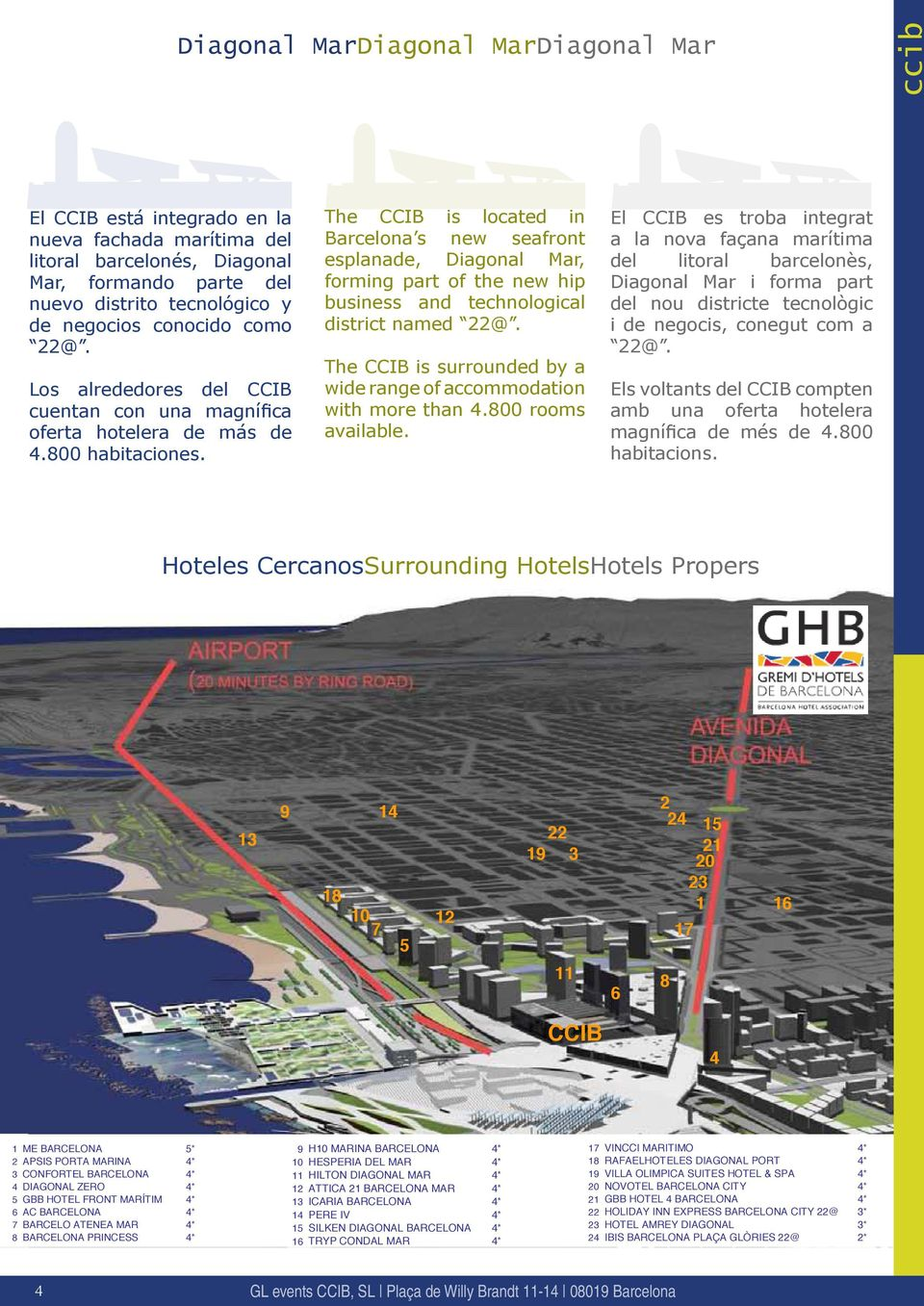 The CCIB is located in Barcelona s new seafront esplanade, Diagonal Mar, forming part of the new hip business and technological district named 22@.