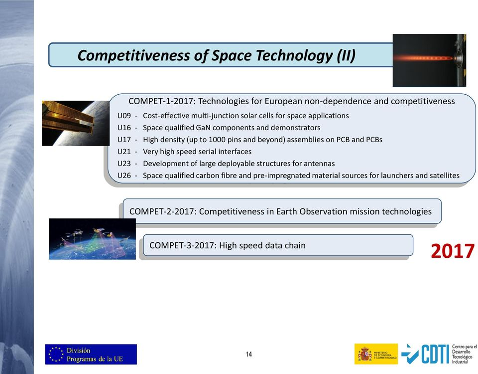 U21 - Very high speed serial interfaces U23 - Development of large deployable structures for antennas U26 - Space qualified carbon fibre and pre-impregnated