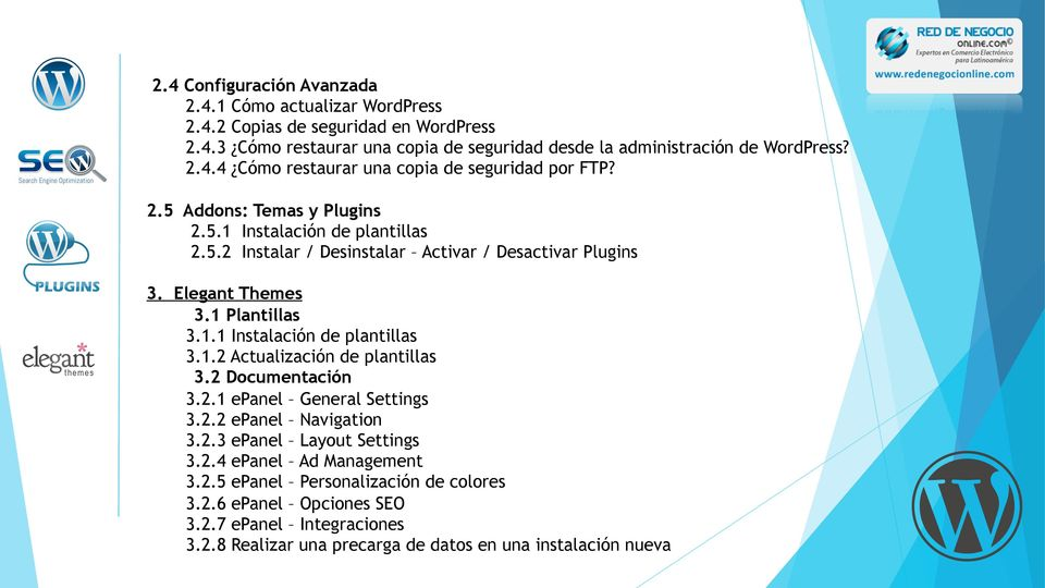 1.2 Actualización de plantillas 3.2 Documentación 3.2.1 epanel General Settings 3.2.2 epanel Navigation 3.2.3 epanel Layout Settings 3.2.4 epanel Ad Management 3.2.5 epanel Personalización de colores 3.