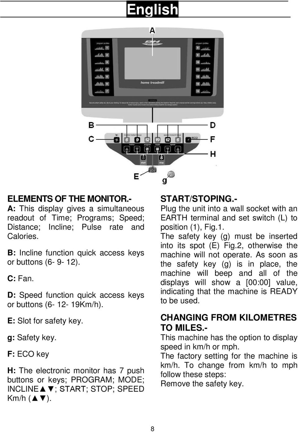 F: ECO key H: The electronic monitor has 7 push buttons or keys; PROGRAM; MODE; INCLINE ; START; STOP; SPEED Km/h ( ). START/STOPING.