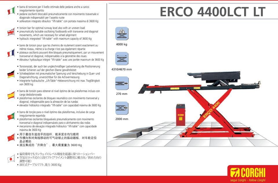 oscillating footboards with transverse and diagonal movements, which are necessary for wheel alignment hydraulic integrated lift-table with maximum capacity of 3600 Kg barre de torsion pour que les