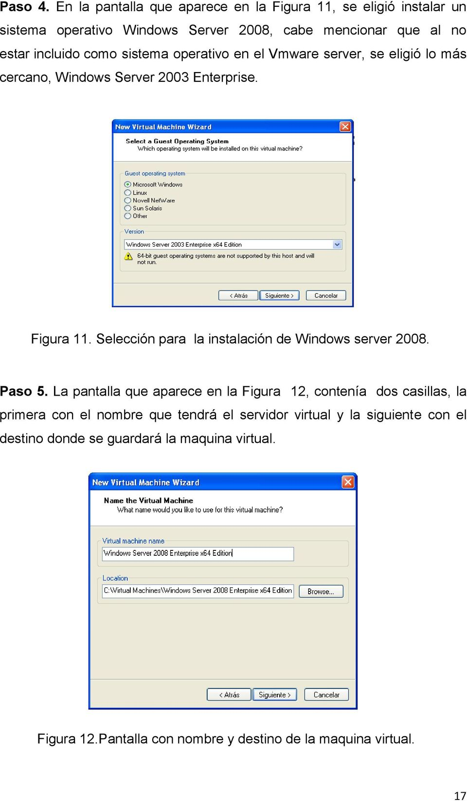 como sistema operativo en el Vmware server, se eligió lo más cercano, Windows Server 2003 Enterprise. Figura 11.