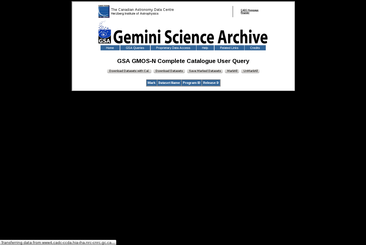 Gemini Science Archive: la base de datos de Gemini Data mining A veces no anda