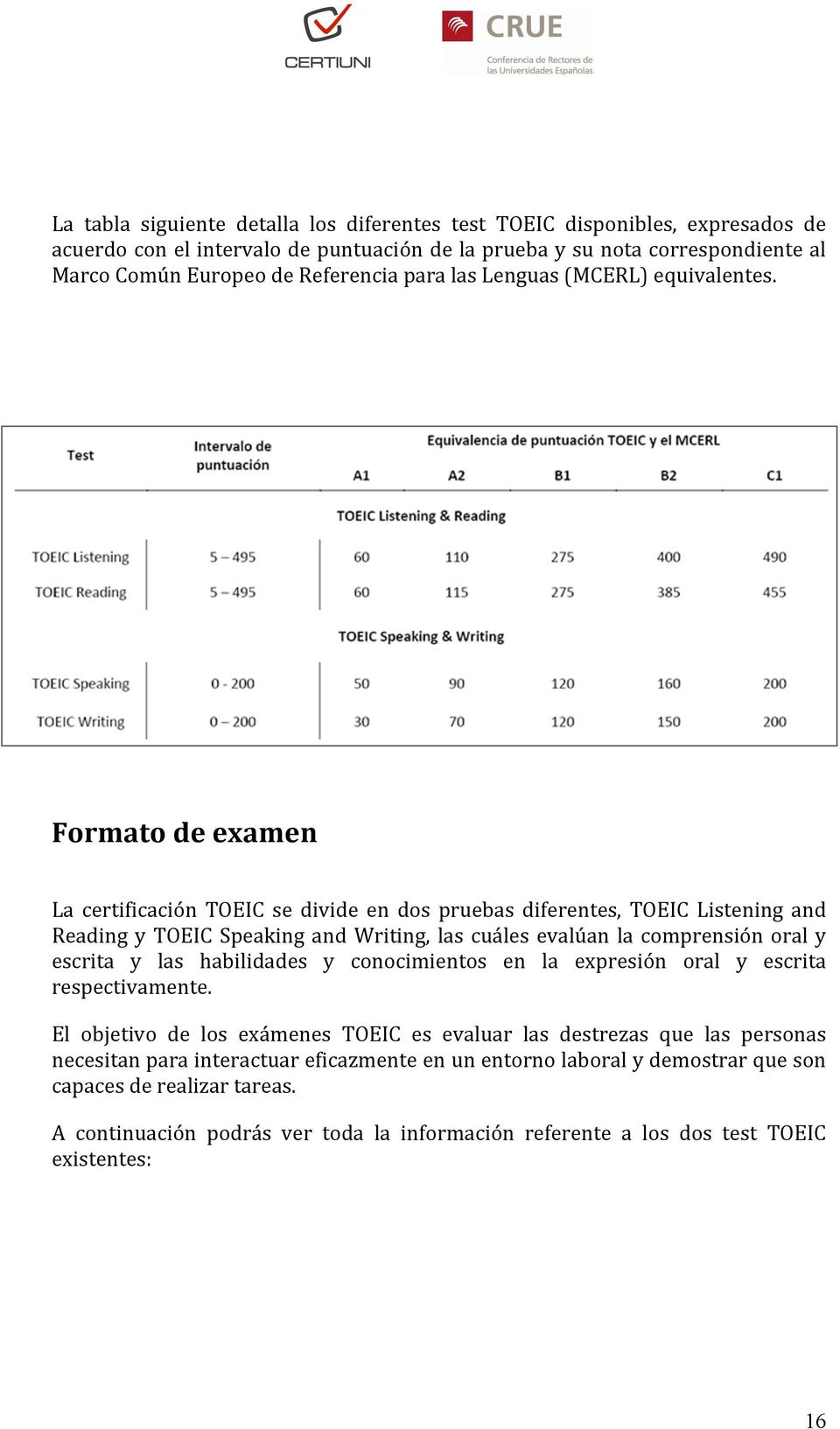 Formato de examen La certificación TOEIC se divide en dos pruebas diferentes, TOEIC Listening and Reading y TOEIC Speaking and Writing, las cuáles evalúan la comprensión oral y escrita y las