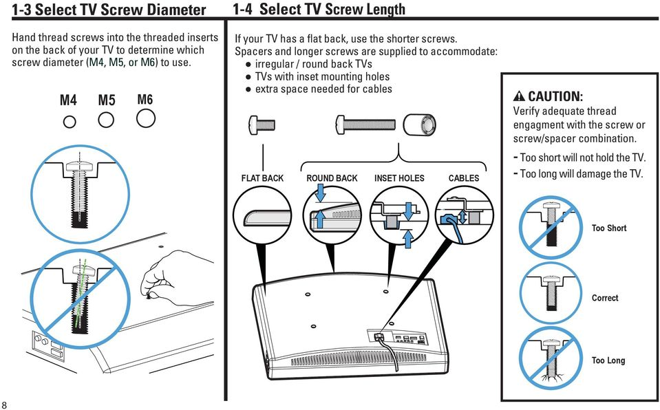 Spacers and longer screws are supplied to accommodate: irregular / round back TVs TVs with inset mounting holes extra space needed for cables FLAT