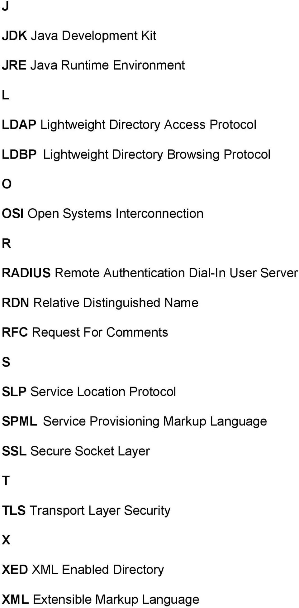 Server RDN Relative Distinguished Name RFC Request For Comments S SLP Service Location Protocol SPML Service