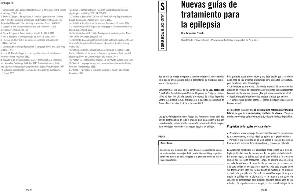 The acquisition of noun and verb inflections, Child Development. 1968;39:433-448. 4. Feld V, Rodríguez M. Neuropsicología Infantil. Ed. UNLU. 1998. 5. Feld V, Rodríguez M. Neuropsicología del niño.